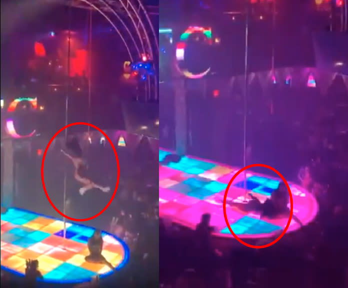 Pole dancer falls in blurry footage, woman circled in red