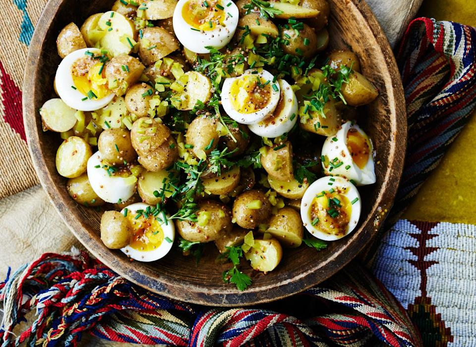 """Egg salad and potato salad: Unite! We like how the still-soft yolks dress the salad, but you can cook the eggs a minute or two longer if you like them more set. <a href=""""https://www.bonappetit.com/recipe/potato-salad-7-minute-eggs-mustard-vinaigrette?mbid=synd_yahoo_rss"""" rel=""""nofollow noopener"""" target=""""_blank"""" data-ylk=""""slk:See recipe."""" class=""""link rapid-noclick-resp"""">See recipe.</a>"""