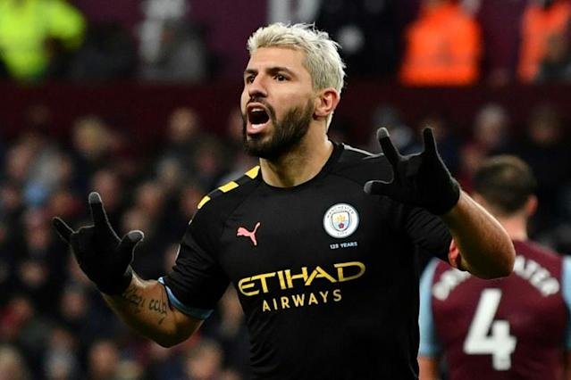 177 not out: Sergio Aguero surpassed Thierry Henry's record as the top scoring foreign player in Premier League history (AFP Photo/Paul ELLIS)