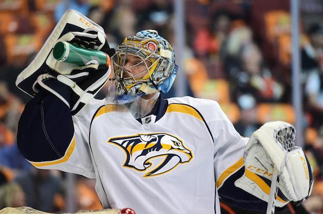 "ANAHEIM, CA – MAY 12: Goaltender <a class=""link rapid-noclick-resp"" href=""/nhl/players/3764/"" data-ylk=""slk:Pekka Rinne"">Pekka Rinne</a> #35 of the <a class=""link rapid-noclick-resp"" href=""/nhl/teams/nas/"" data-ylk=""slk:Nashville Predators"">Nashville Predators</a> takes a drink from his water bottle during a break in play of Game One of the Western Conference Final during the 2017 Stanley Cup Playoffs at Honda Center on May 12, 2017 in Anaheim, California. The Predators defeated the Ducks 3-2 in overtime. (Photo by Harry How/Getty Images)"