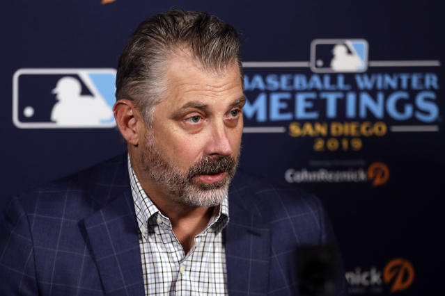 Pittsburgh Pirates manager Derek Shelton speaks at the Major League Baseball winter meetings Wednesday, Dec. 11, 2019, in San Diego. (AP Photo/Gregory Bull)