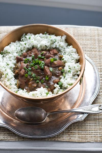 In this image taken on Jan. 28, 2013, red beans and rice with andouille sausage is shown served in a bowl in Concord, N.H. (AP Photo/Matthew Mead)