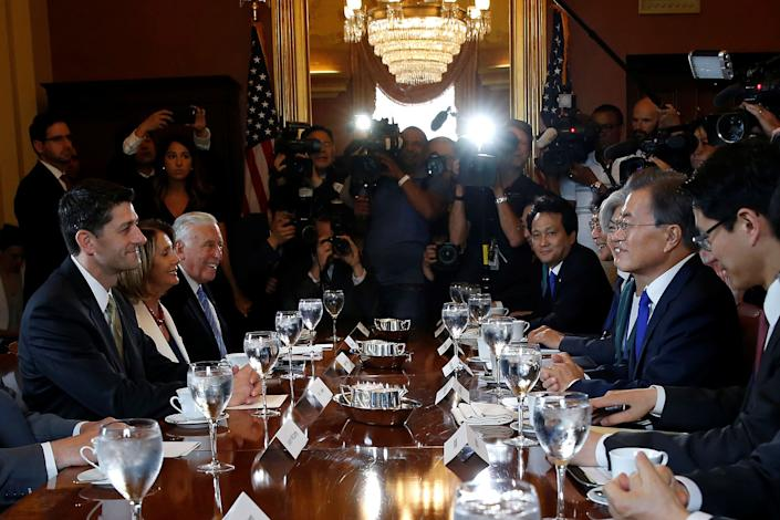 Speaker of the House Paul Ryan (R-Wis.) meets with South Korean President Moon Jae-in on Capitol Hill on June 29, 2017.