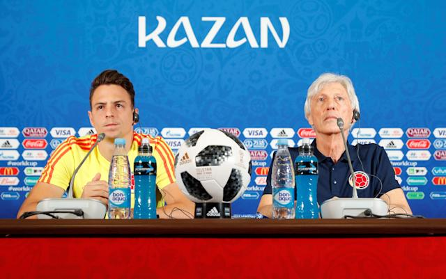 Soccer Football - World Cup - Colombia Press Conference - Kazan Arena, Kazan, Russia - June 23, 2018 Colombia's Santiago Arias and coach Jose Pekerman during the press conference REUTERS/John Sibley