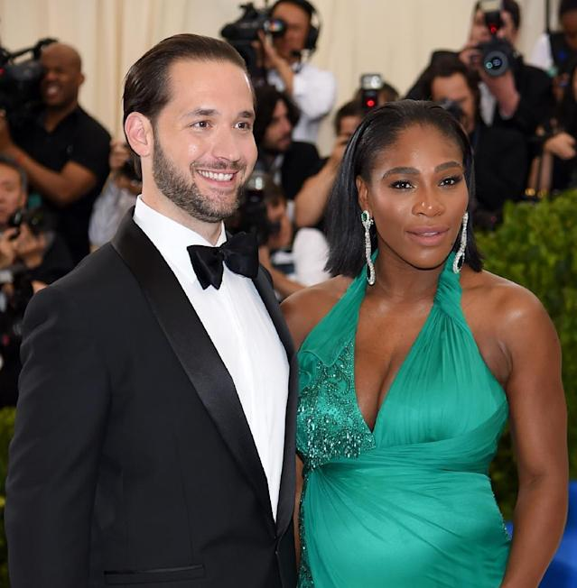 Alexis Ohanian and Serena Williams , pictured in April 2017, have reveiled their daughter to the world on Williams' Instagram account (AFP Photo/Dimitrios Kambouris)