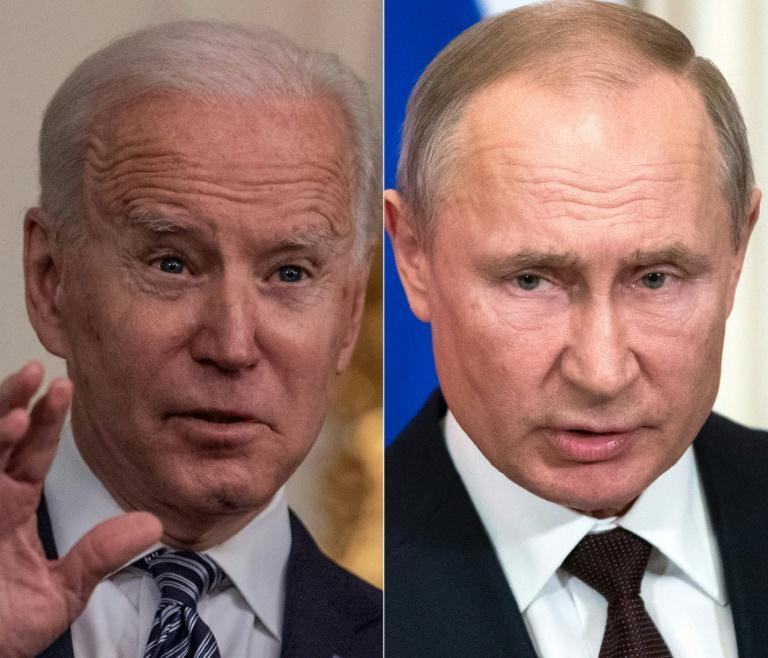US President Joe Biden (L) is to meet his Russian counterpart Vladimir Putin next month amid increasing tensions between the two countries