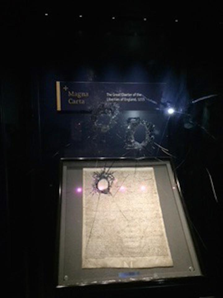The damage done to the case holding the copy of the Magna Carta at Salisbury Cathedral (Picture: PA)