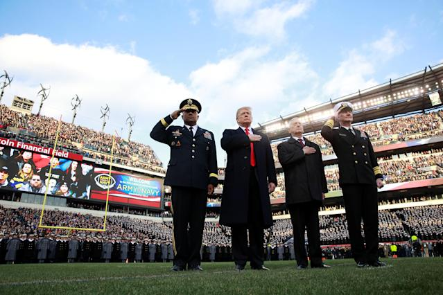U.S. President Donald Trump and U.S. Defense Secretary Jim Mattis attend opening ceremonies at the 119th Army-Navy football game at Lincoln Financial Field in Philadelphia, Pennsylvania, on Dec. 8, 2018. (Reuters)