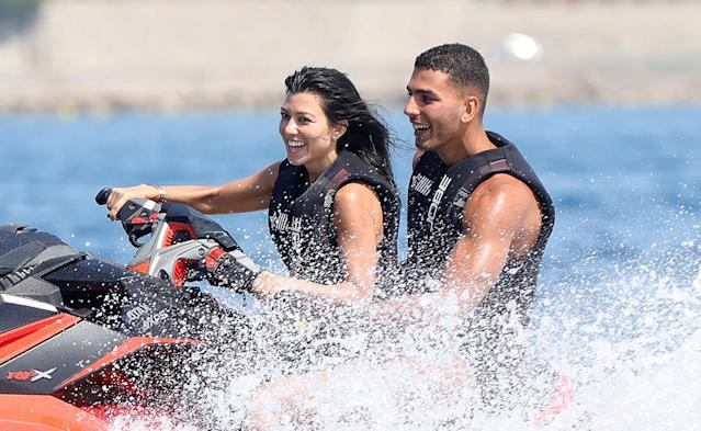 <p>Kourtney and her boyfriend (of the moment), Younes Bendjima, hit the water on a Jet Ski. Kourt rocked a sexy black one-piece for the occasion that featured many sexy cutouts. (Photo: Kourtney Kardashian via Instagram) </p>