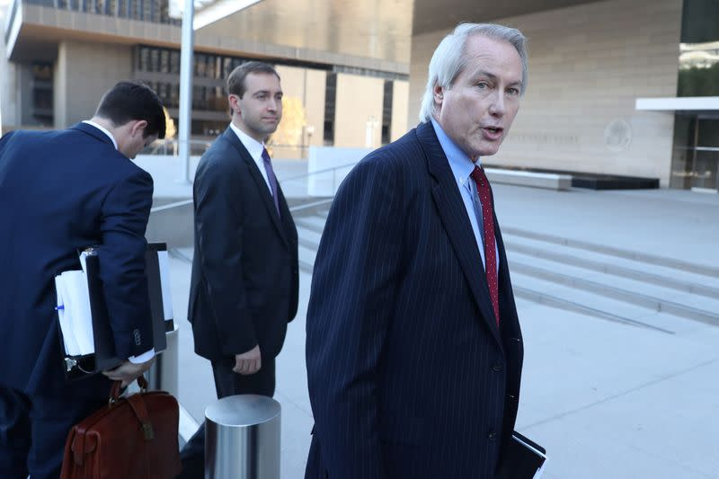 Plaintiff attorney L. Lin Wood arrives for a pretrial hearing for a defamation case in which Elon Musk is accused of defaming British cave diver Vernon Unsworth