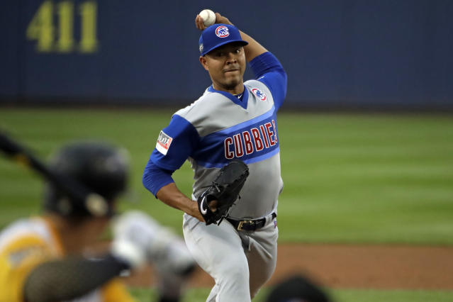 Chicago Cubs starting pitcher Jose Quintana delivers during the first inning of the Little League Classic baseball game against the Pittsburgh Pirates at Bowman Stadium in Williamsport, Pa., Sunday, Aug. 18, 2019. (AP Photo/Gene J. Puskar)
