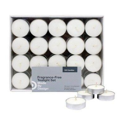 """<p><strong>Made By Design</strong></p><p>target.com</p><p><strong>$6.59</strong></p><p><a href=""""https://www.target.com/p/31-100pk-unscented-tealights-candles-white-made-by-design-8482/-/A-54012117"""" rel=""""nofollow noopener"""" target=""""_blank"""" data-ylk=""""slk:Shop Now"""" class=""""link rapid-noclick-resp"""">Shop Now</a></p><p>The best tea lights are odorless, copious, and cheap. This pack of 100 checks all the boxes, making it a perfect fit for home movie night. Light a dozen of them, stick them in glass votives, and scatter the votives around the room. Instant ambience. </p>"""