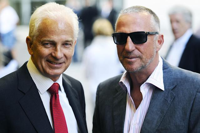 "Former cricket player Sir Ian Botham OBE (R) and former cricket player David Gower (L) arrive for the world premiere of cricket film ""From the Ashes"", in London on May 10, 2011. AFP PHOTO/Carl de Souza. (Photo credit should read CARL DE SOUZA/AFP/Getty Images)"