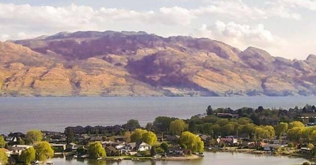 Crews are searching for a man who was diving with friends on Saturday near the William Bennett Bridge on Okanagan Lake when he didn't resurface. (City of West Kelowna - image credit)