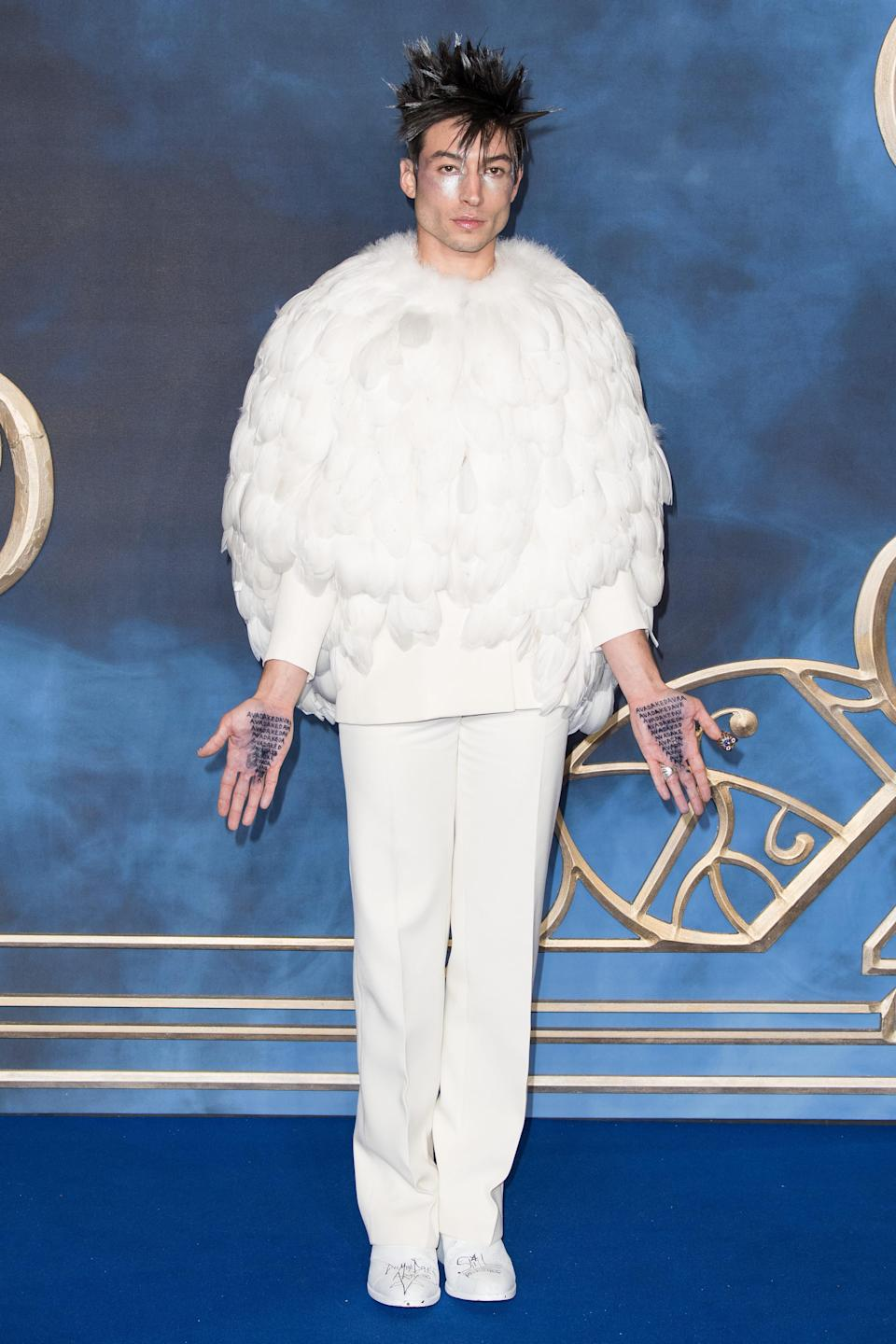 <p>The actor wore a bespoke Givenchy Autumn/Winter 2018 Haute Couture UK premiere of 'Fantastic Beasts: The Crimes Of Grindelwald' at Cineworld Leicester Square in London. <em>[Photo: Getty]</em> </p>