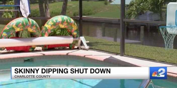 A screen grab from a video of the swimming pool