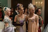 <p>The ornate costumes, along with the interiors, for <em>Bridgerton</em> are a huge part of the series' appeal. The crew, which consisted of over 200 people when filming in 2019, created over 7,500 pieces for the cast's costume closet. </p>