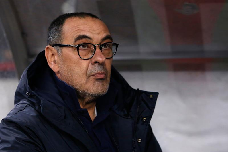 MOSCOW, RUSSIA - NOVEMBER 06: Juventus head coach Maurizio Sarri looks on during the UEFA Champions League group D match between Lokomotiv Moskva and Juventus FC at RZD Arena on November 6, 2019 in Moscow, Russia. (Photo by Mike Kireev/MB Media/Getty Images)