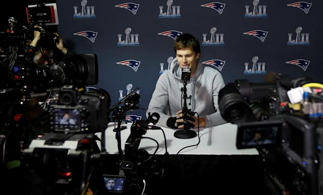 New England Patriots quarterback Tom Brady speaks to reporters about the upcoming Super Bowl during a media availability in Minneapolis, Minnesota, U.S. January 30, 2018. REUTERS/Kevin Lamarque