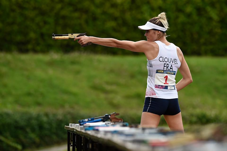 CHOFU, JAPAN - JUNE 28: Elodie Clouvel of France competes during the women's laser run on day two of the UIPM World Cup, Modern Pentathlon test event for the Tokyo 2020, at the Musashino Forest Sport Plaza on June 28, 2019 in Chofu, Tokyo, Japan. (Photo by Matt Roberts/Getty Images)