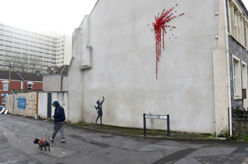 A suspected new mural by artist Banksy is pictured in Marsh Lane in Bristol