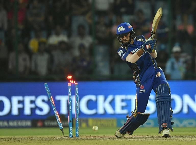 High-octane cricket: Mumbai Indians batter Mayank Markande is bowled out in a flurry of flashing lights against Delhi Daredevils on Sunday