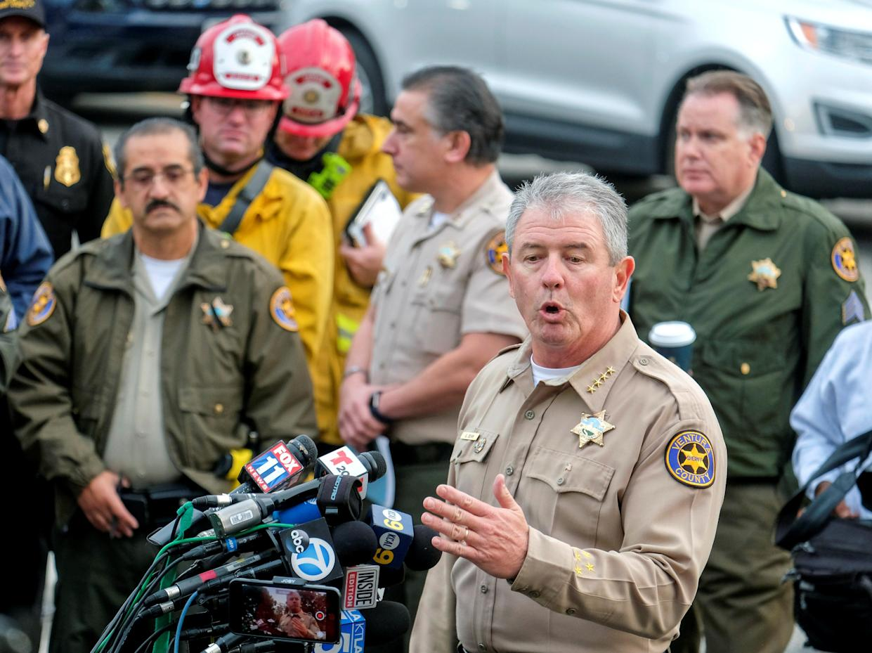 Ventura County Sheriff Geoff Dean speaks during a news conference after a mass shooting at a bar in Thousand Oaks, Calif., on Nov. 8, 2018. (Photo: Ringo Chiu/Reuters)