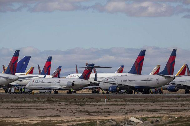 PHOTO: Delta Air Lines jets are parked in growing numbers at Southern California Logistics Airport on March 24, 2020, in Victorville, Calif. (David Mcnew/Getty Images, FILE)