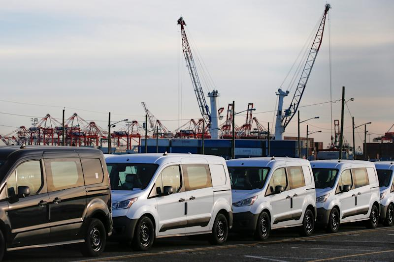 Imported automobiles are parked in a lot at the port of Newark New Jersey, U.S., February 19, 2019. REUTERS/Eduardo Munoz
