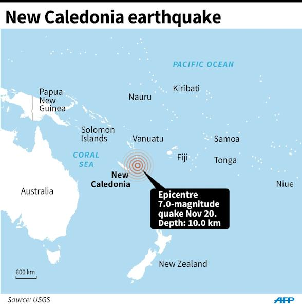 Map locating the epicentre of a 7.0-magnitude quake that struck off New Caledonia (AFP Photo/AFP )
