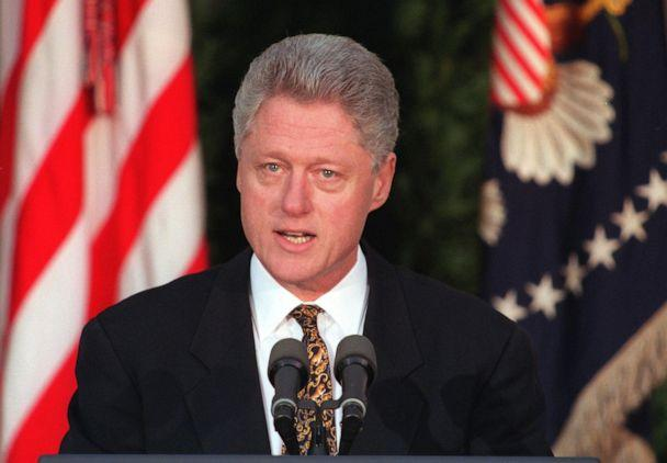 PHOTO: President Bill Clinton addresses the nation from the Rose Garden of the White House, Dec. 11, 1998. (William Philpott/AFP/Getty Images)