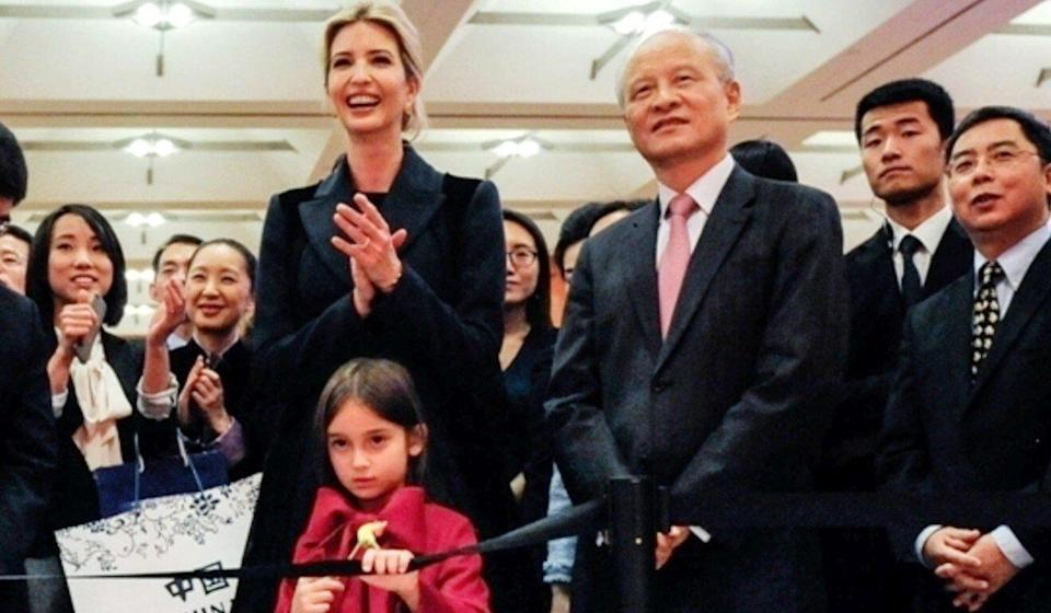 Cui Tiankai, Ivanka Trump and her daughter Arabella attend the Chinese embassy's New Year reception in Washington in 2017. Photo: Xinhua
