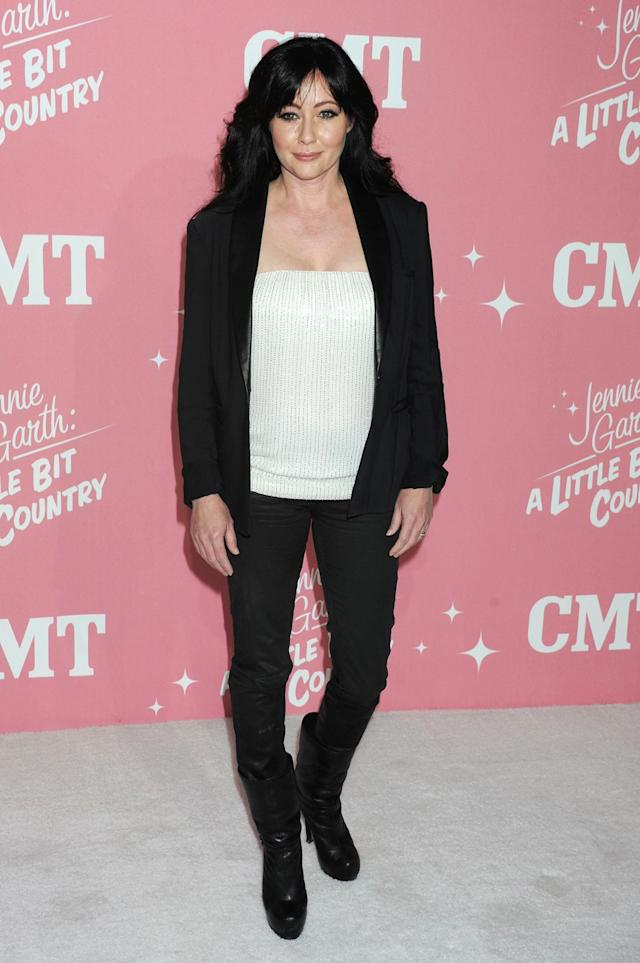 WEST HOLLYWOOD, CA - APRIL 19: Shannen Doherty arrives at her 40th Birthday celebration & premiere party for 'Jennie Garth: A Little Bit Country' held at The London Hotel on April 19, 2012 in West Hollywood, California. (Photo by Jeffrey Mayer/WireImage)