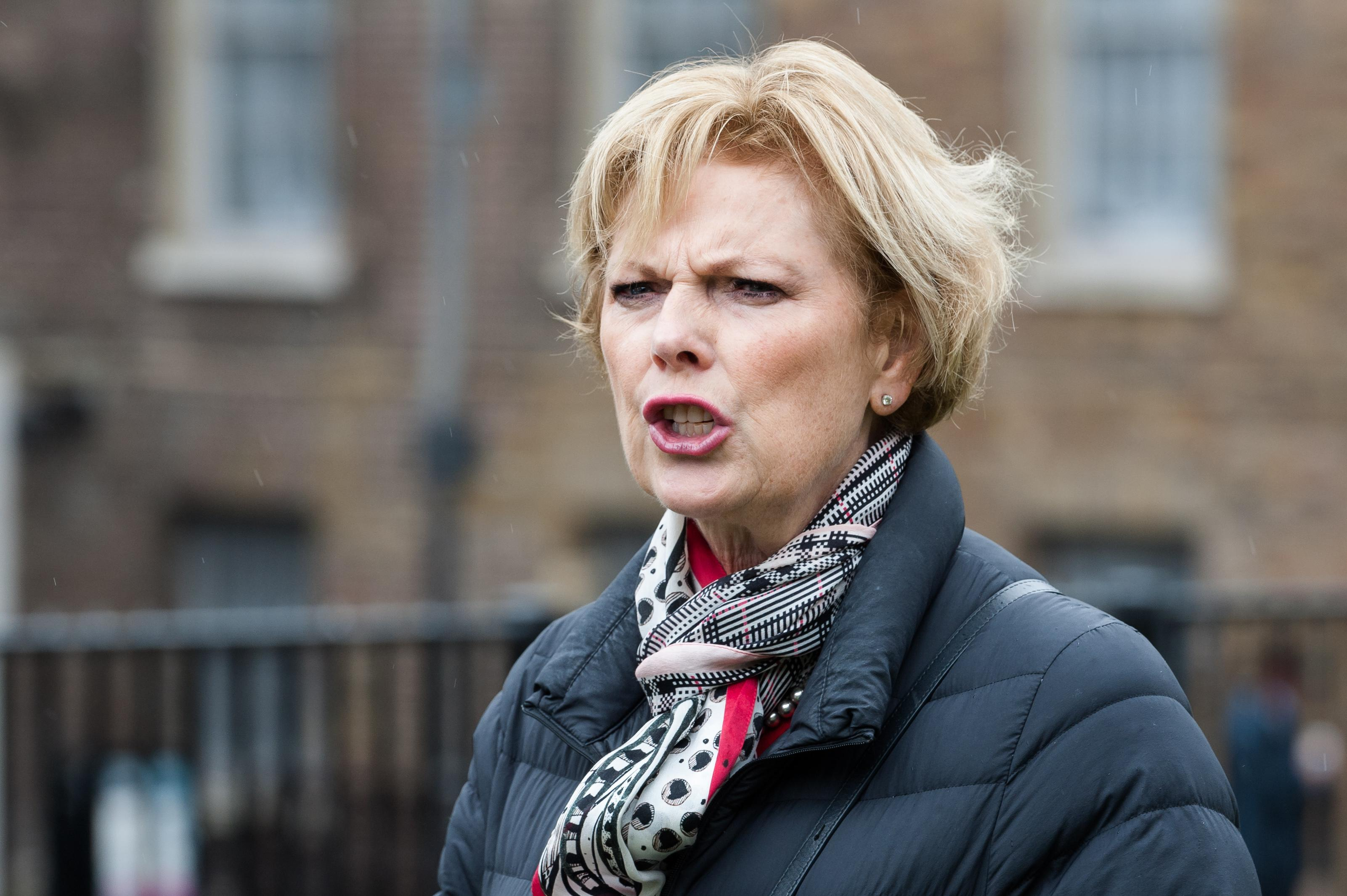 Anna Soubry, leader of The Independent Group for Change, seen outside the Houses of Parliament on 21 May, 2019 in London, England. Today, the government will attempt to bring a vote on Boris Johnson's EU withdrawal agreemnet after MPs witheld their support for the deal on Saturday to prevent a no-deal Brexit on 31st October, forcing prime minster to write a letter requesting an extension from the EU. (Photo by WIktor Szymanowicz/NurPhoto via Getty Images)