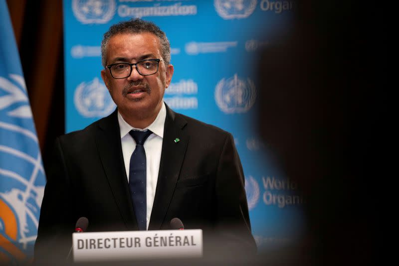 FILE PHOTO: WHO Director-General Tedros Adhanom Ghebreyesus speaks during the opening of the 148th session of the Executive Board in Geneva