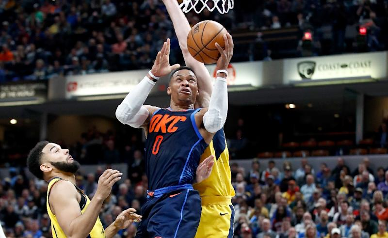 Russell Westbrook of the Oklahoma City Thunder posted his 10th triple-double of the season and the 89th of his career in front in a dramatic 119-117 win over the Philadelphia 76ers (AFP Photo/ANDY LYONS)