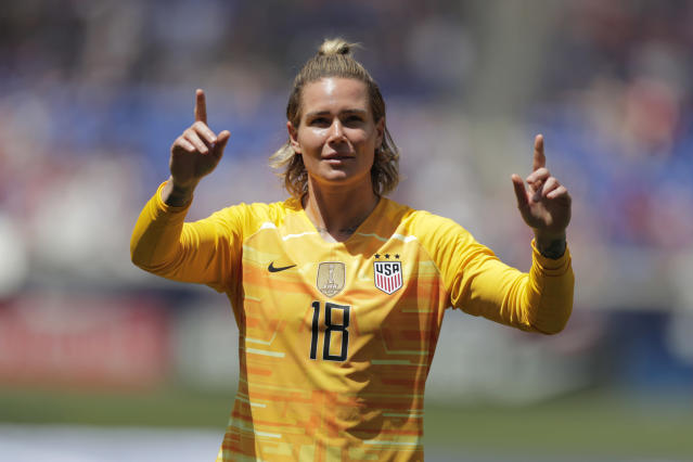 United States goalkeeper Ashlyn Harris took issue with the claim the women's national team isn't accepting to Christians. (AP Photo/Julio Cortez)