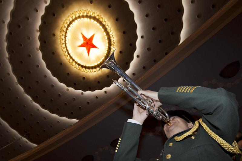 A member of a Chinese military band rehearses before the opening session of the annual National People's Congress at Beijing's Great Hall of the People, Sunday, March 5, 2017. China's top leadership as well as thousands of delegates from around the country are gathered at the Chinese capital for the annual legislature meetings. (AP Photo/Ng Han Guan)
