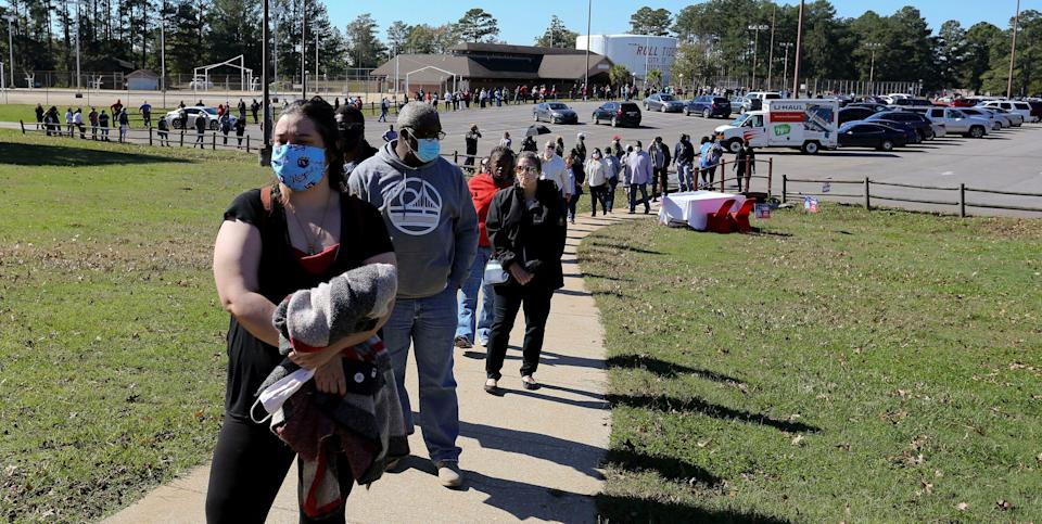 A long line to vote in Tuscaloosa, Ala., on Nov. 3, 2020.