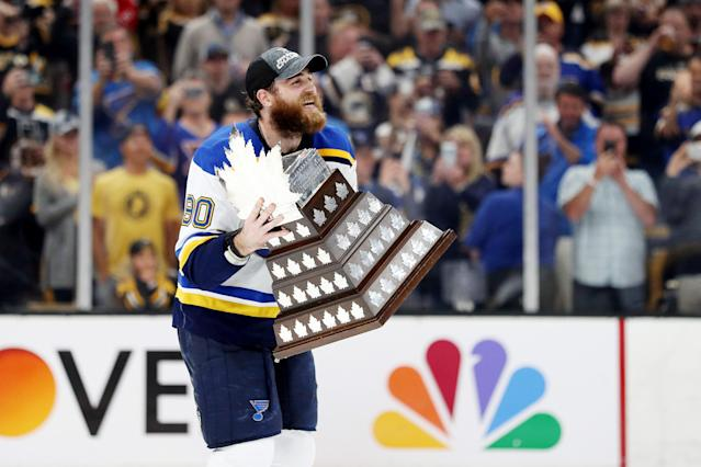 Ryan O'Reilly #90 of the St. Louis Blues celebrates with the Conn Smythe Trophy after defeating the Boston Bruins 4-1 to win Game Seven of the 2019 NHL Stanley Cup Final at TD Garden on June 12, 2019 in Boston, Massachusetts. (Photo by Patrick Smith/Getty Images)
