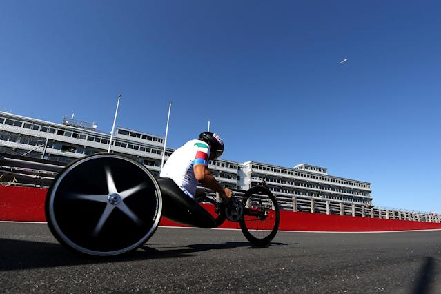LONGFIELD, ENGLAND - SEPTEMBER 05: Alessandro Zanardi of Italy competes in the Men's Individual H4 Time Trial on day 7 of the London 2012 Paralympic Games at Brands Hatch on September 5, 2012 in Longfield, England. (Photo by Clive Rose/Getty Images)