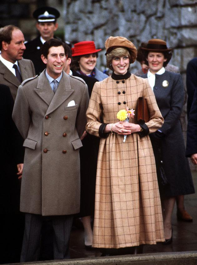 Prince Charles and Princess Diana visit Wales in November 1982. Her suede beret is by John Boyd.
