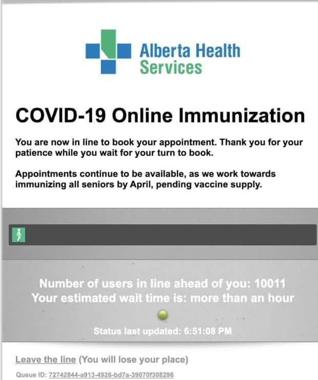 Thousands of people trying to log on to Alberta Health's website to register for COVID-19 vaccinations on Wednesday, when it opened to people born in 1946 and older, faced long waits. As of 7 p.m., users were getting a message saying that they faced a wait of at least an hour with about 10,000 people ahead of them in the queue.