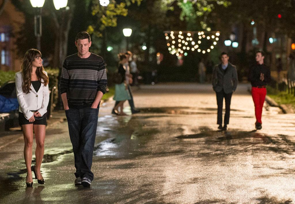 "Rachel (Lea Michele), Finn (Cory Monteith), Blaine (Darren Criss) and Kurt (Chris Colfer) go for a walk in the ""Break Up"" episode of ""Glee."""