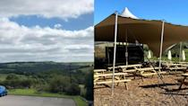 A before and after shot shows how The Alma Inn has modified its overflow space to accommodate more customers