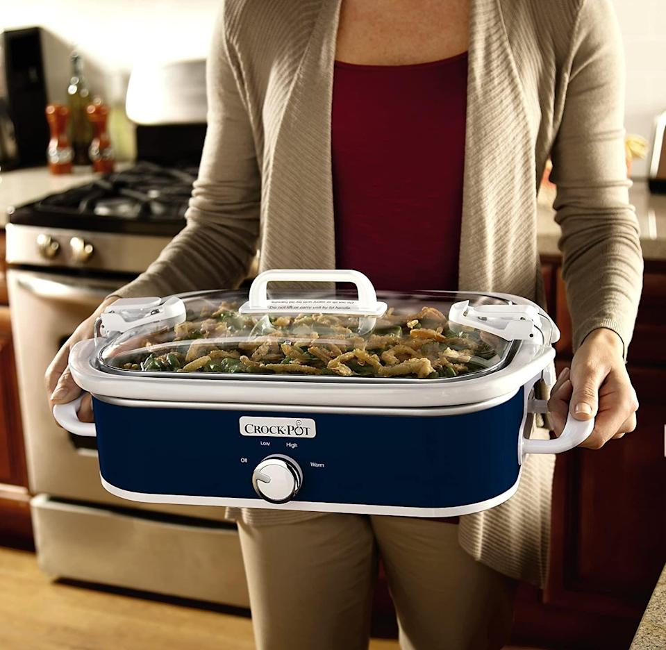 """<p><strong>Crock-Pot</strong></p><p>amazon.com</p><p><a href=""""https://www.amazon.com/dp/B00H70KMTA?tag=syn-yahoo-20&ascsubtag=%5Bartid%7C10055.g.33523372%5Bsrc%7Cyahoo-us"""" rel=""""nofollow noopener"""" target=""""_blank"""" data-ylk=""""slk:BUY NOW"""" class=""""link rapid-noclick-resp"""">BUY NOW</a></p><p><em><strong>Originally: </strong>$57.99</em><strong><br></strong></p><p>If you want to spend the fall whipping up hearty stews and savory roasts, definitely add Crock-Pot's slow cooker to your cart.</p>"""
