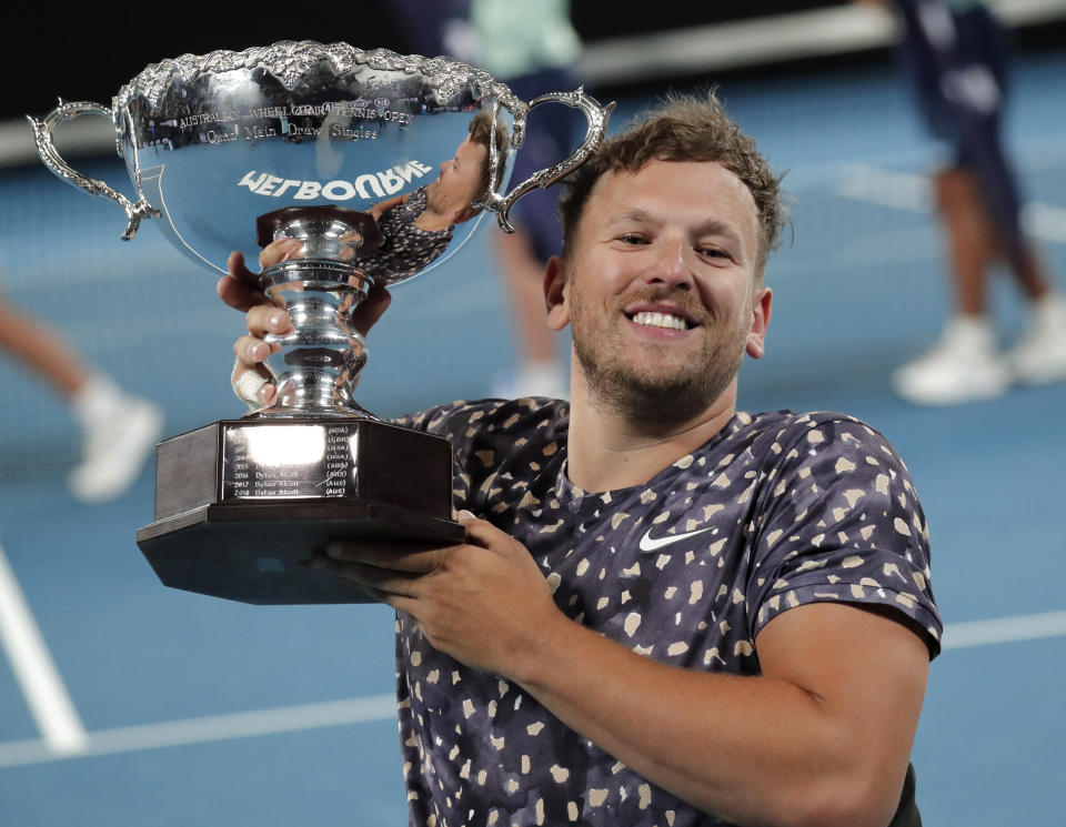 Current World No. 1 Dylan Alcott can't compete at the U.S. Open this year, as the tournament was limited to just men's and women's singles and doubles events. (AP/Lee Jin-man)