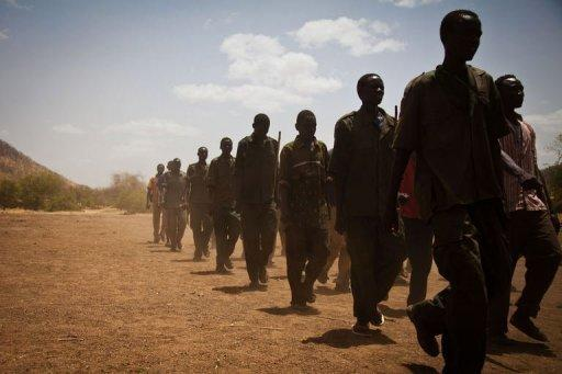 Sudan People's Liberation Movement (SPLA-N) rebel soldiers train in the Nuba Mountians