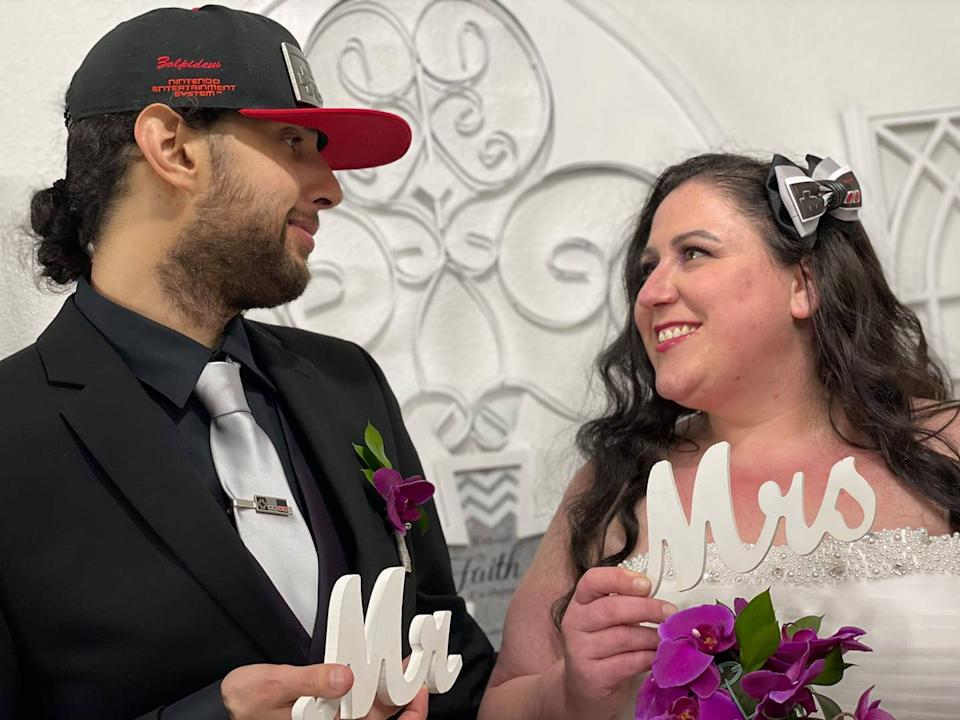 Omar Delaney pictured with his new wife, Tamara, on their wedding day.