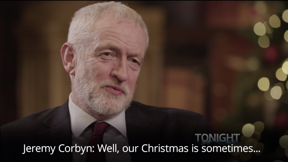 Jeremy Corbyn looked embarrassed when he got the time of the Queen's Christmas message wrong. (ITV)